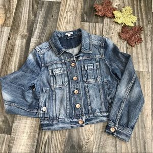 Express Factory Distressed Denim Jacket -S
